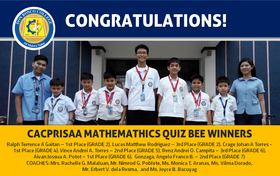 CACPRISAA Mathematics Quiz Bee Winners!
