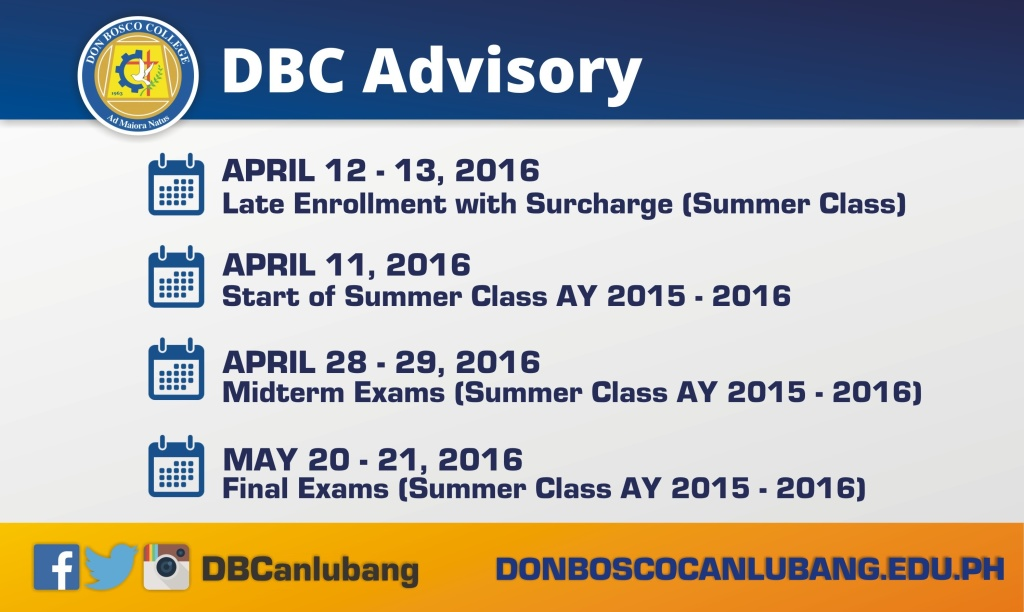 DBC ADVISORY: Important Dates for College Students who will take Summer Class AY 2015 – 2016