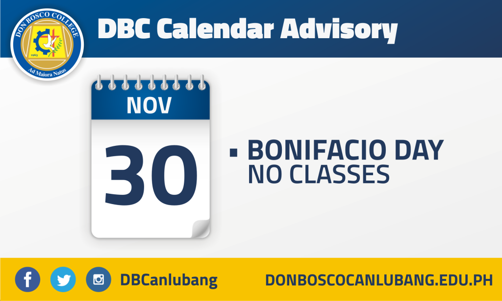 DBC CALENDAR ADVISORY: November 30 – Bonifacio Day