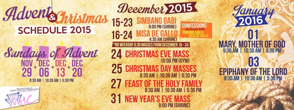 DBC ADVISORY: Schedule of Advent and Christmas Masses in the Diocesan Shrine of Mary Help of Christians