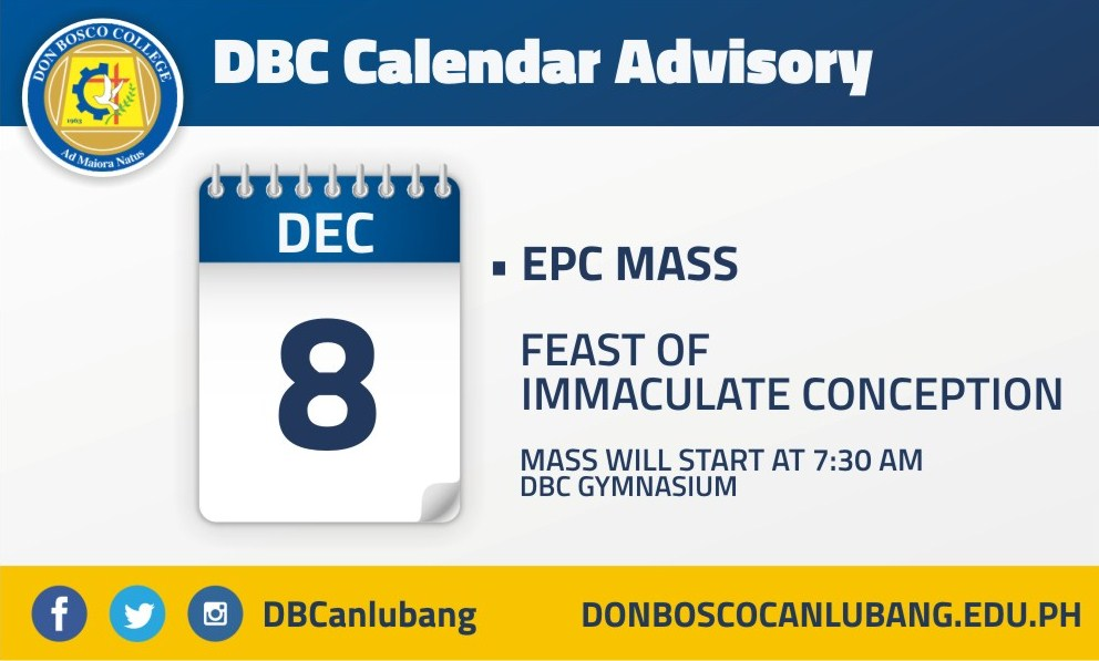 DBC CALENDAR ADVISORY: December 8, 2015 – Feast of Immaculate Conception