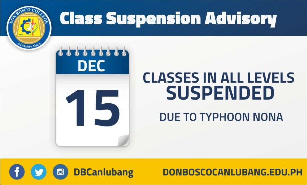 DBC ADVISORY: Classes for December 15th NOW SUSPENDED