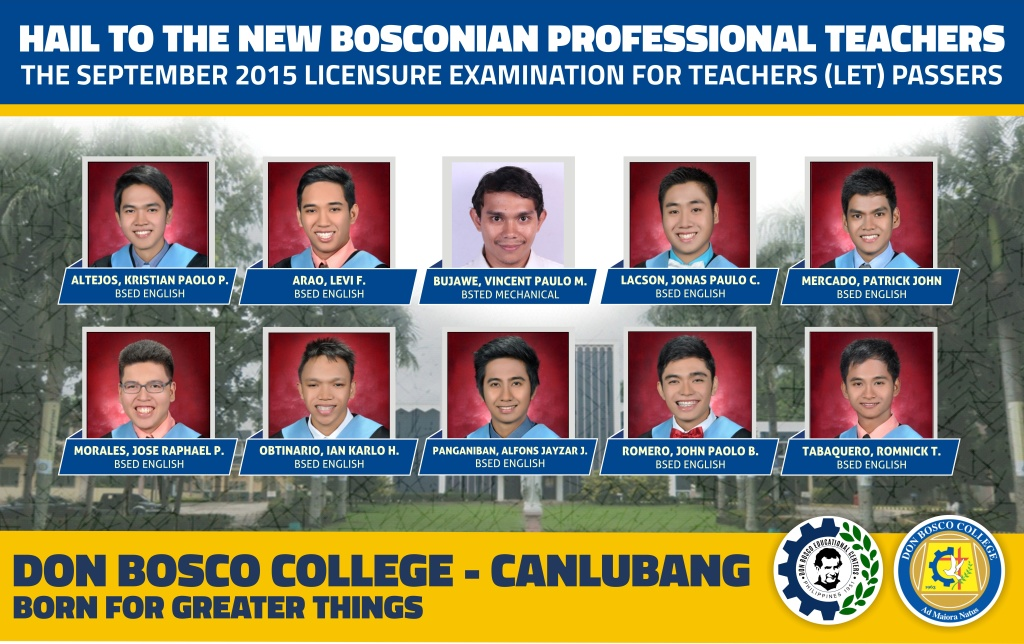 DBC LICENSURE PASSERS: The New Bosconian Professional Teachers