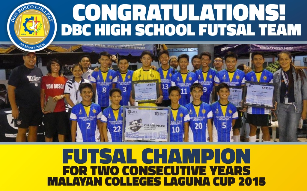 DBC AWARDS: 2 CONSECUTIVE YEAR CHAMPION – DBC HIGH SCHOOL FUTSAL TEAM