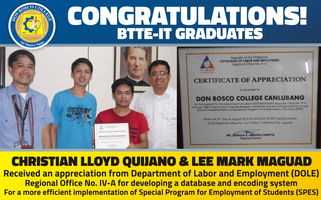 DBC ALUMNI NEWS: BTTE-IT Received an Appreciation from DOLE