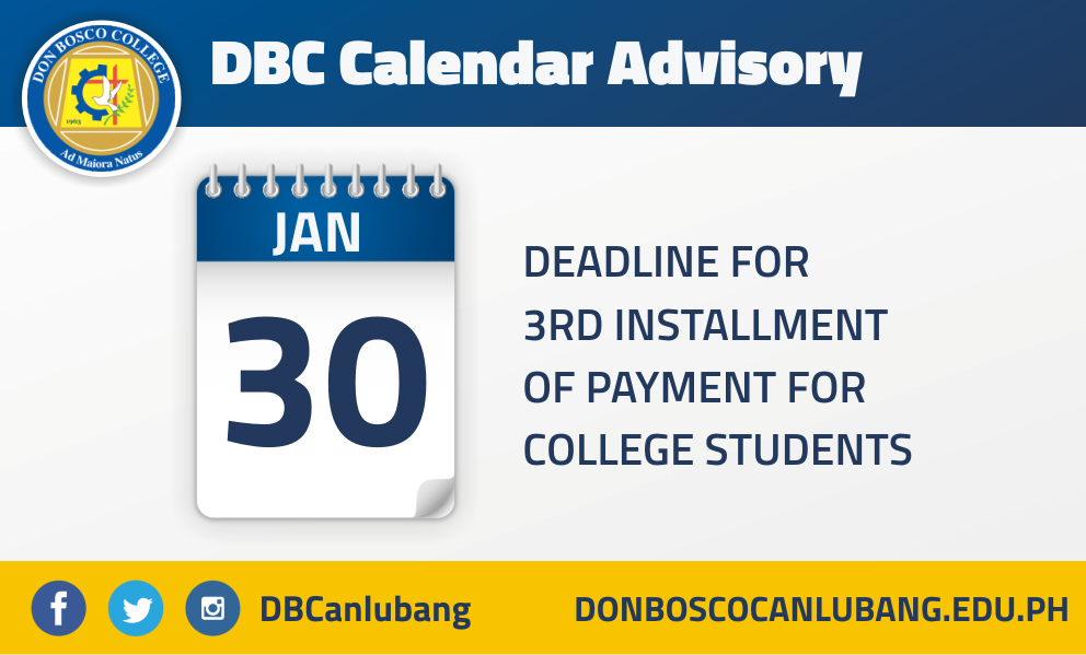 Deadline for 3rd Installment of Payment