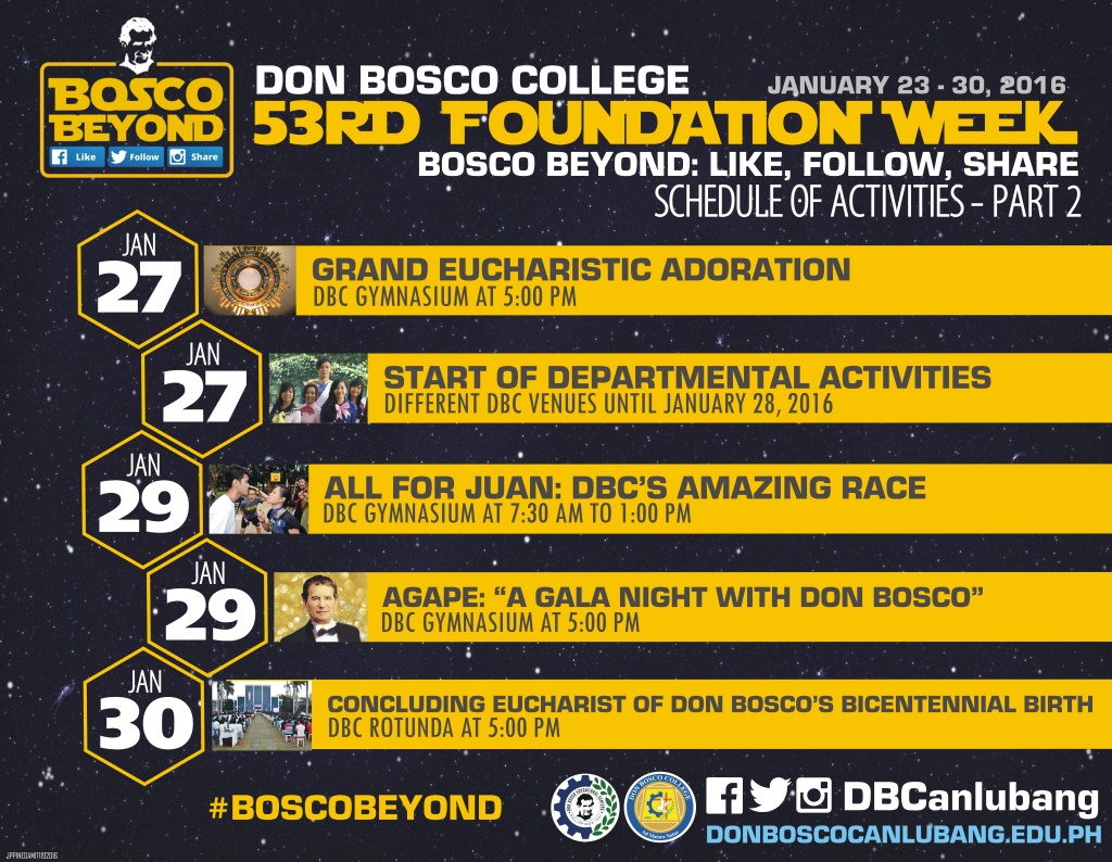 #BOSCOBEYOND: 53rd Founding Anniversary Official Schedule of Activities