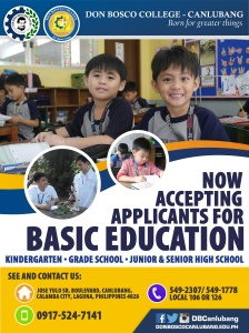 Don Bosco College - Canlubang BED Promotion Poster
