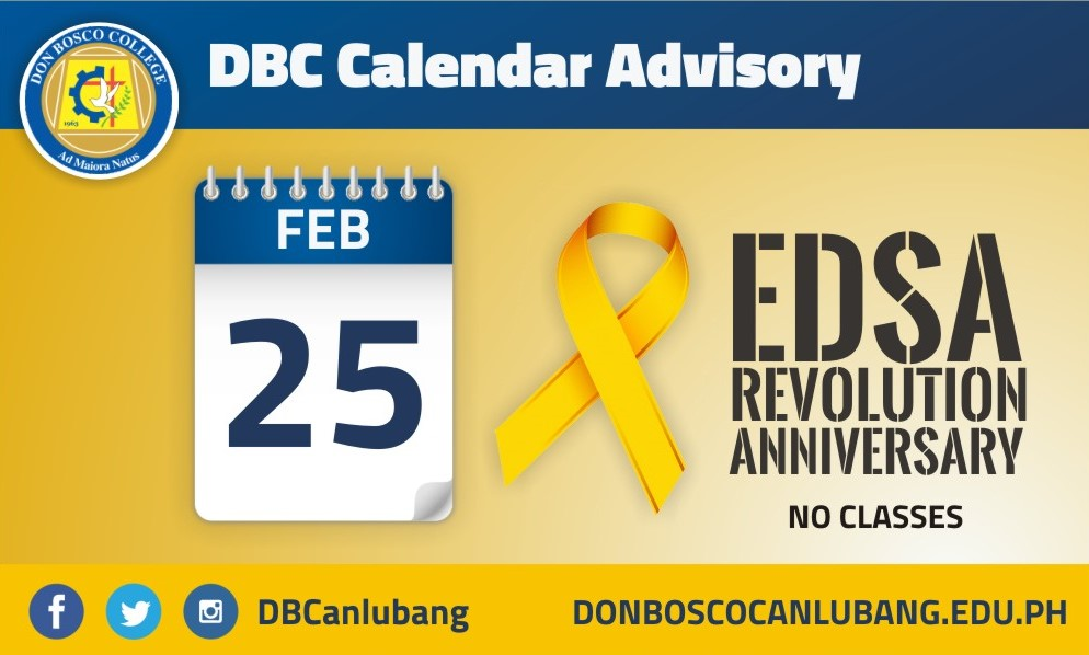 DBC CALENDAR ADVISORY: February 25, 2016 is a special (non-working) holiday)
