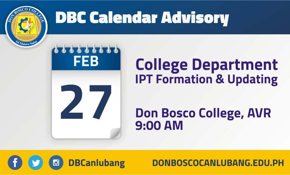 DBC CALENDAR ADVISORY: IPT Formation and Updating