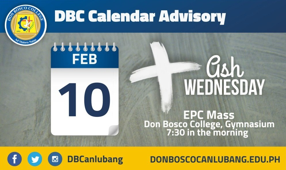 DBC CALENDAR ADVISORY: February 10, 2016 is Ash Wednesday