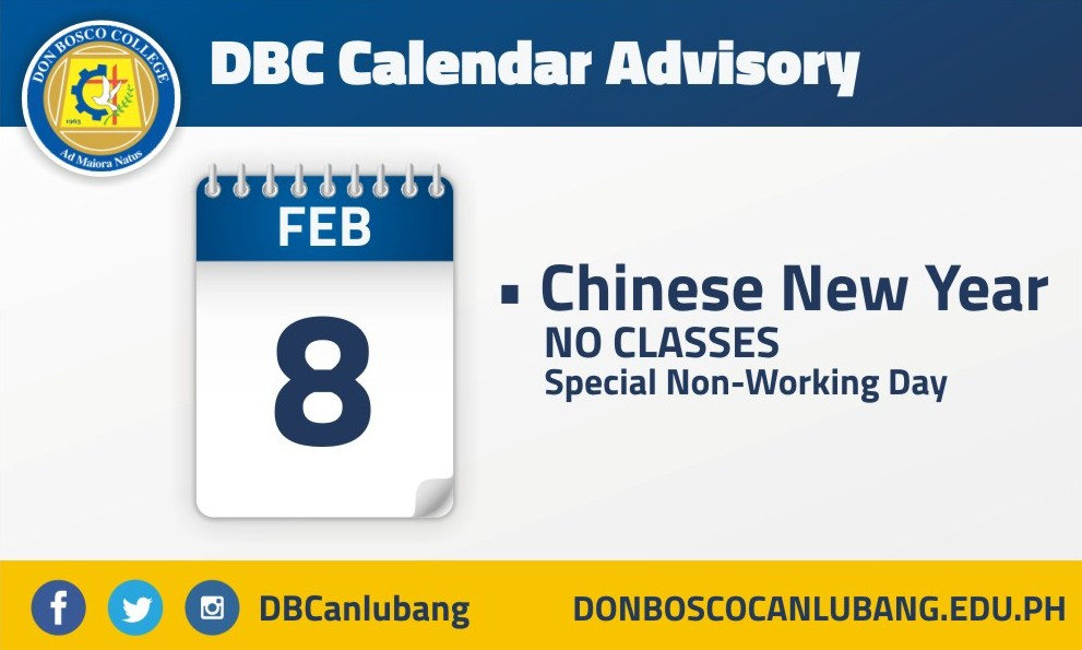 DBC CALENDAR ADVISORY: Chinese New Year
