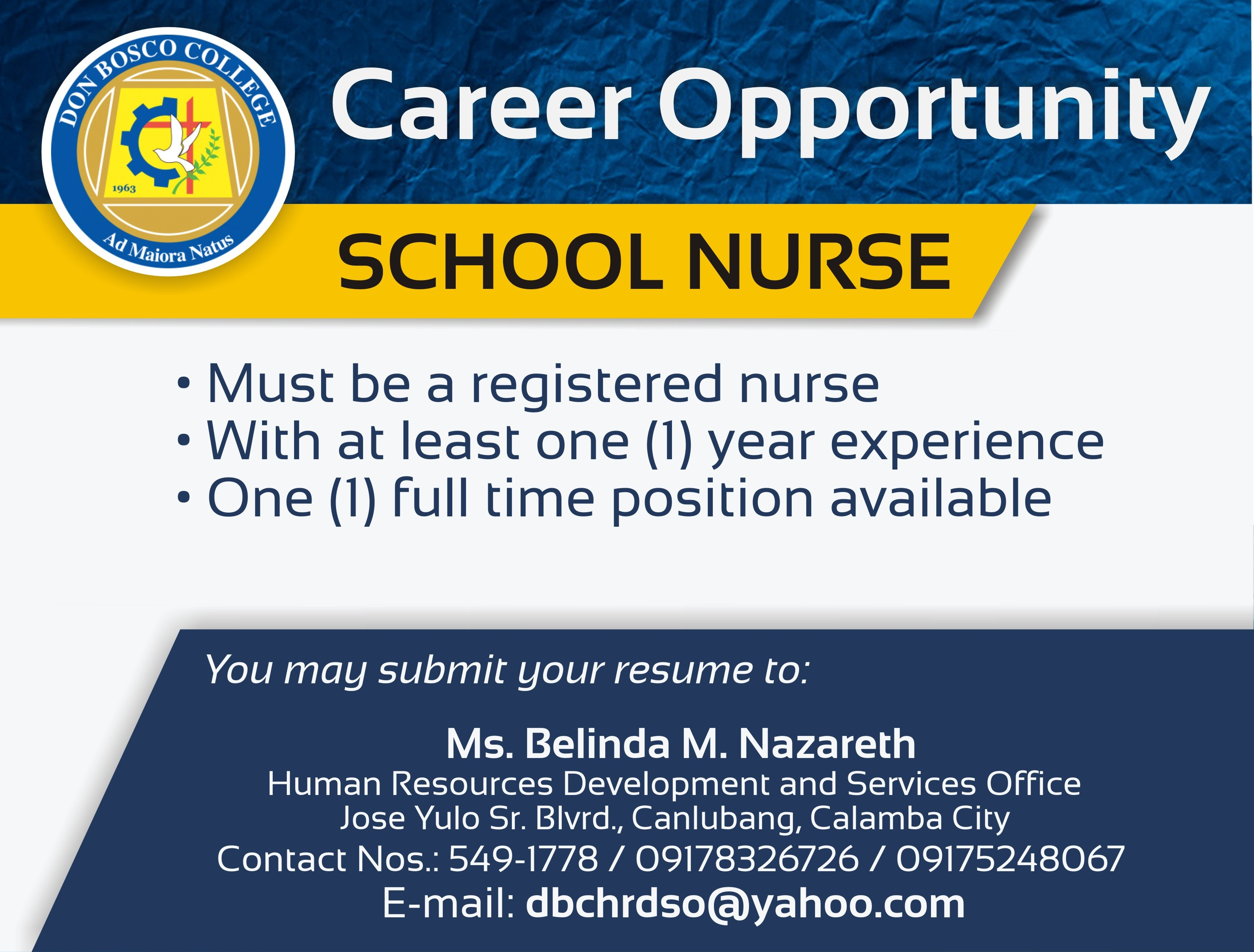 DBC CAREERS: Career Opportunity for School Nurse