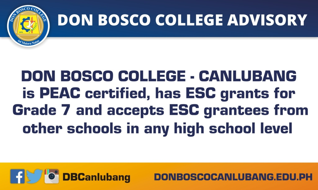 DBC ADVISORY: DBC IS PEAC CERTIFIED AND HAS ESC GRANTS