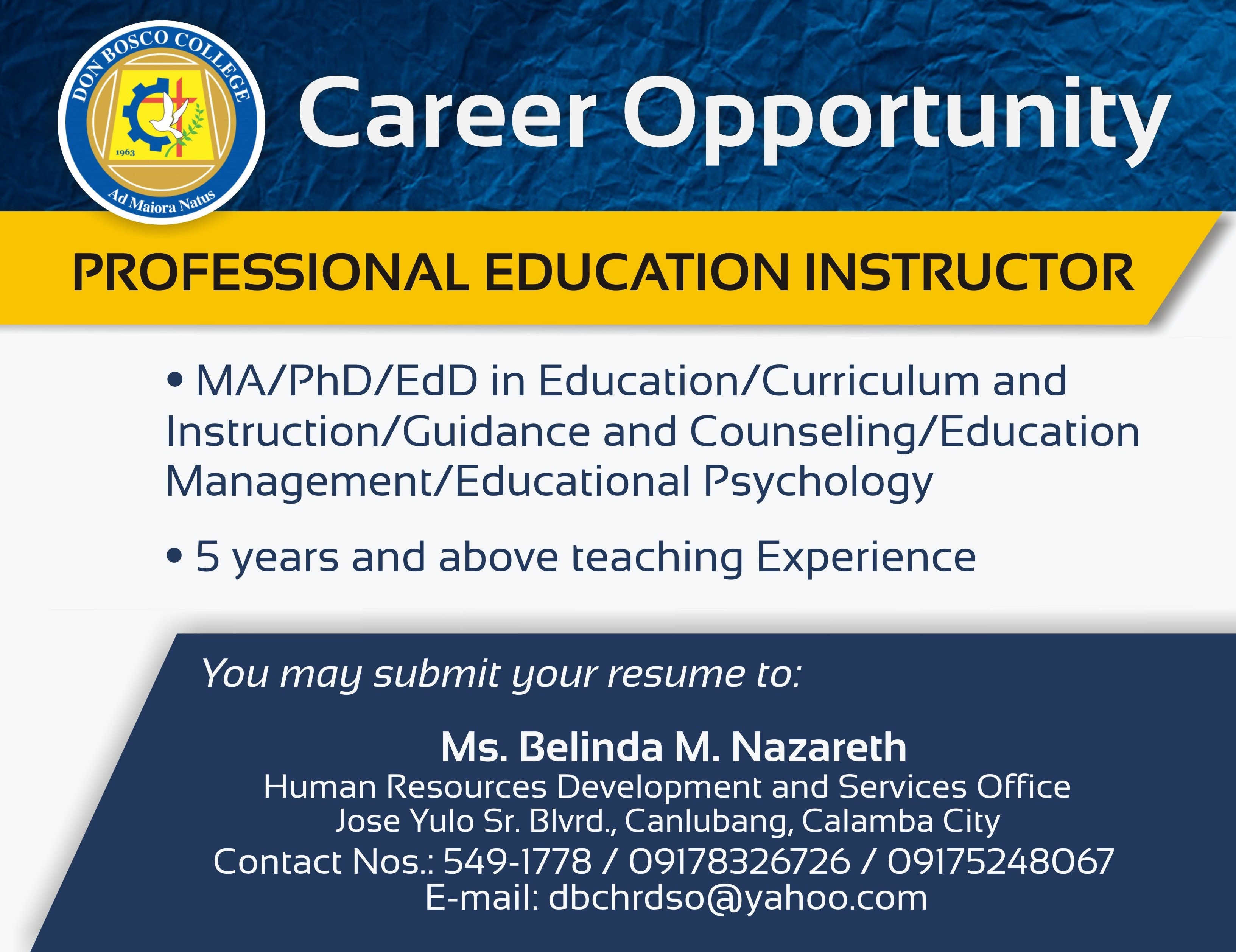 NOW HIRING PROFESSIONAL EDUCATION INSTRUCTOR