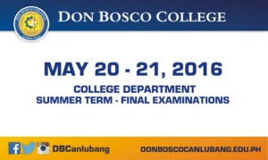 Schedule of Final Exams of College Department for Summer Term