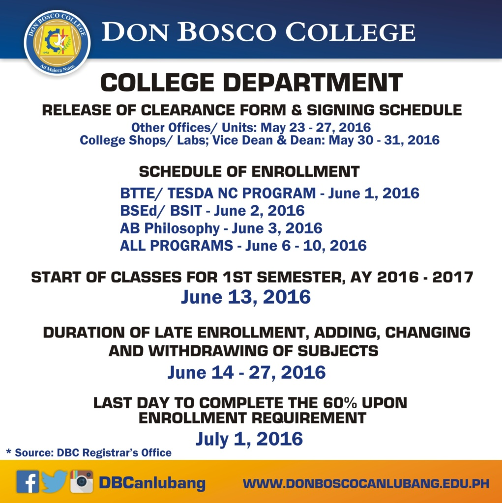 Schedule of Clearance Signing and Enrollment for College Students