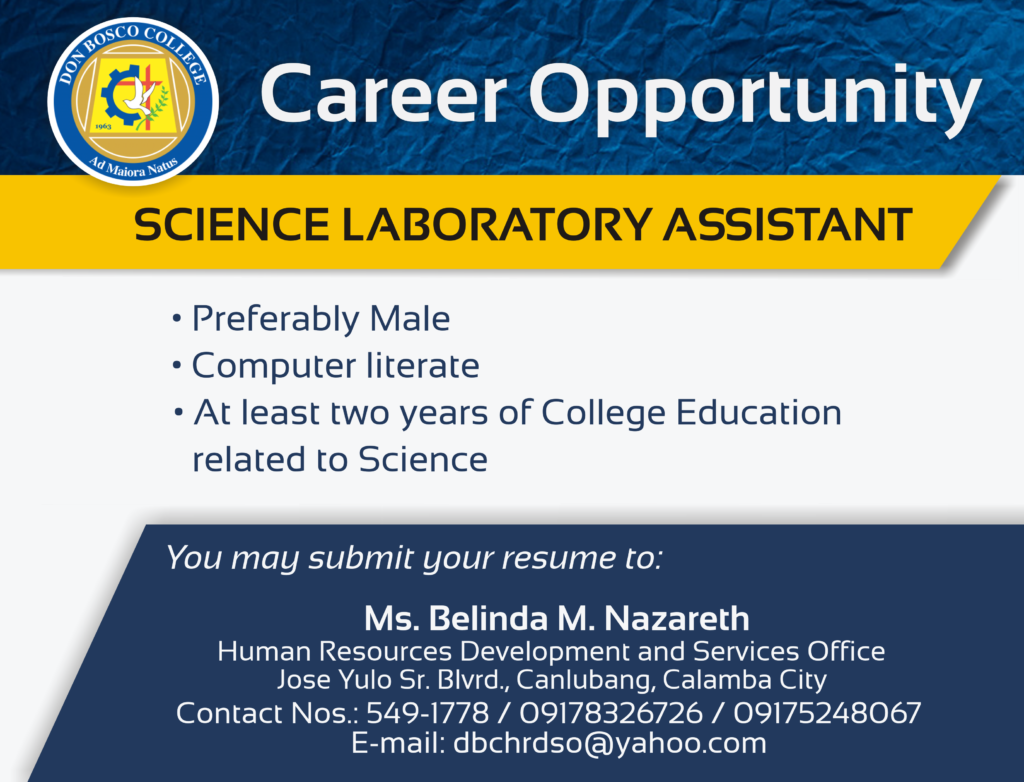 DBC CAREERS: Career Opportunity for Science Laboratory Assistant