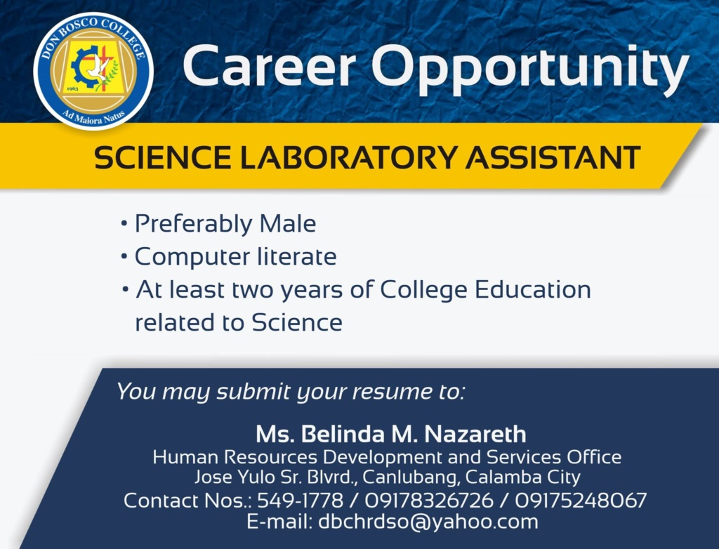 We are looking for Science Laboratory Assistant