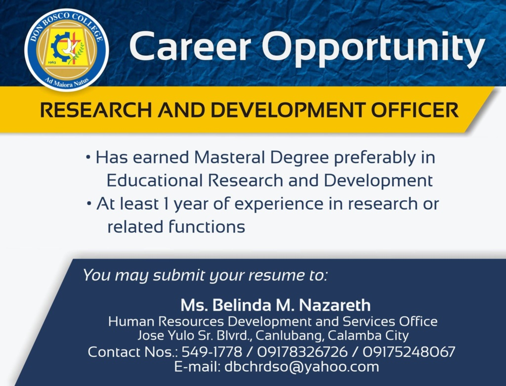 We are looking for Research and Development Officer