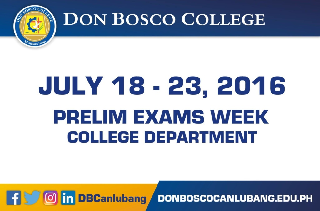 Prelim Exams Week for College Department