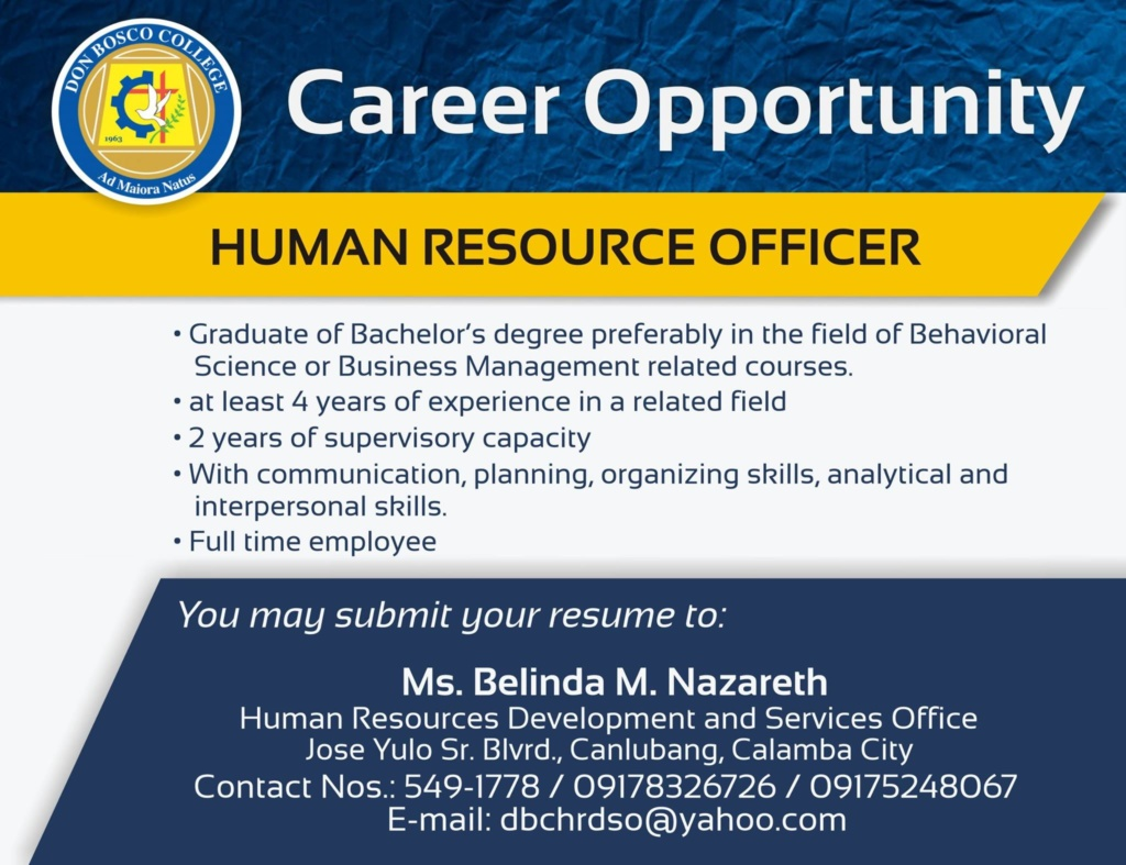 We are looking for HR Officer