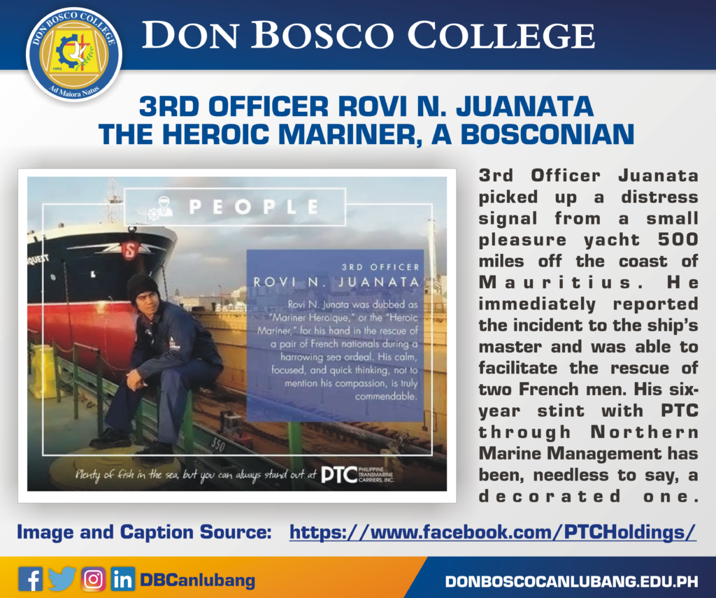 ALUMNI NEWS: 3RD OFFICER ROVI N. JUANATA – THE HEROIC MARINER, A BOSCONIAN