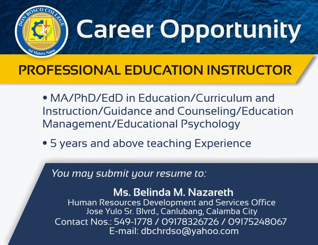 We are looking for Professional Education Instructor