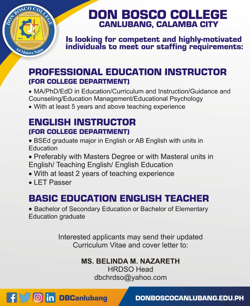 We are looking for teaching and non-teaching staff
