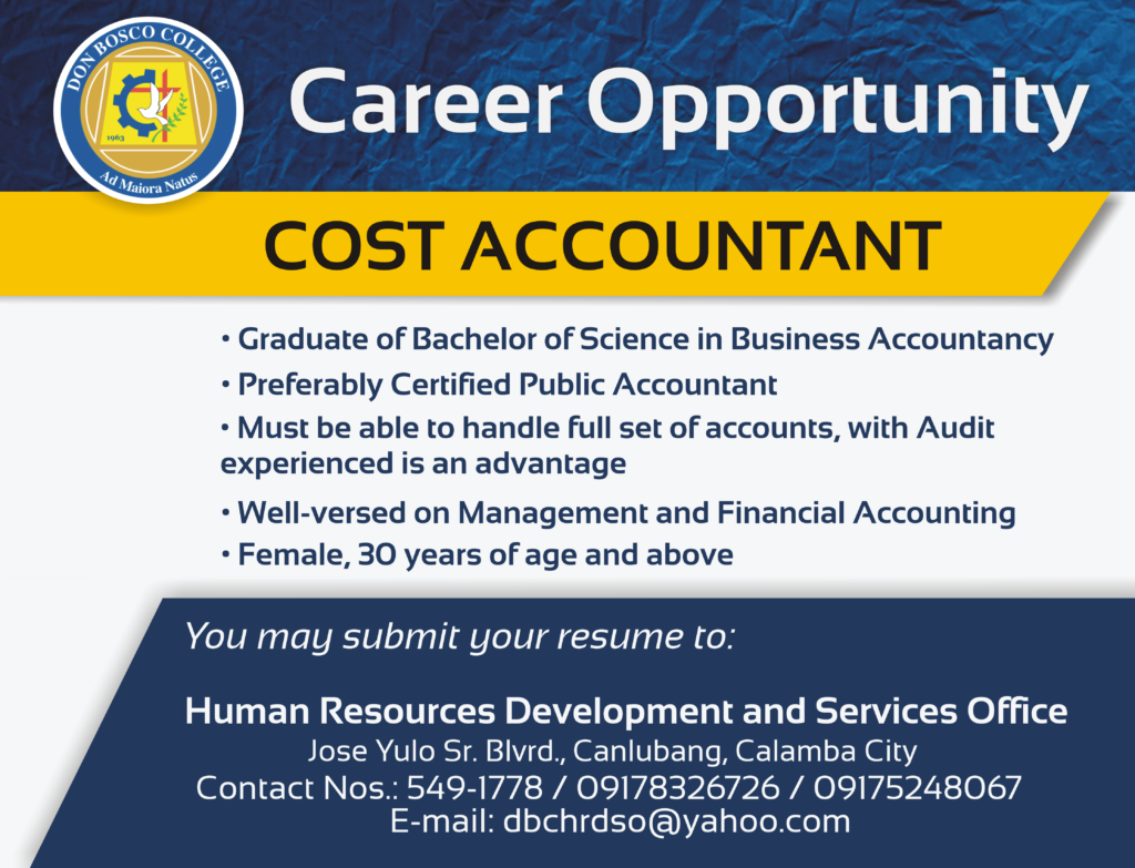 DBC CAREERS: We are looking for COST ACCOUNTANT