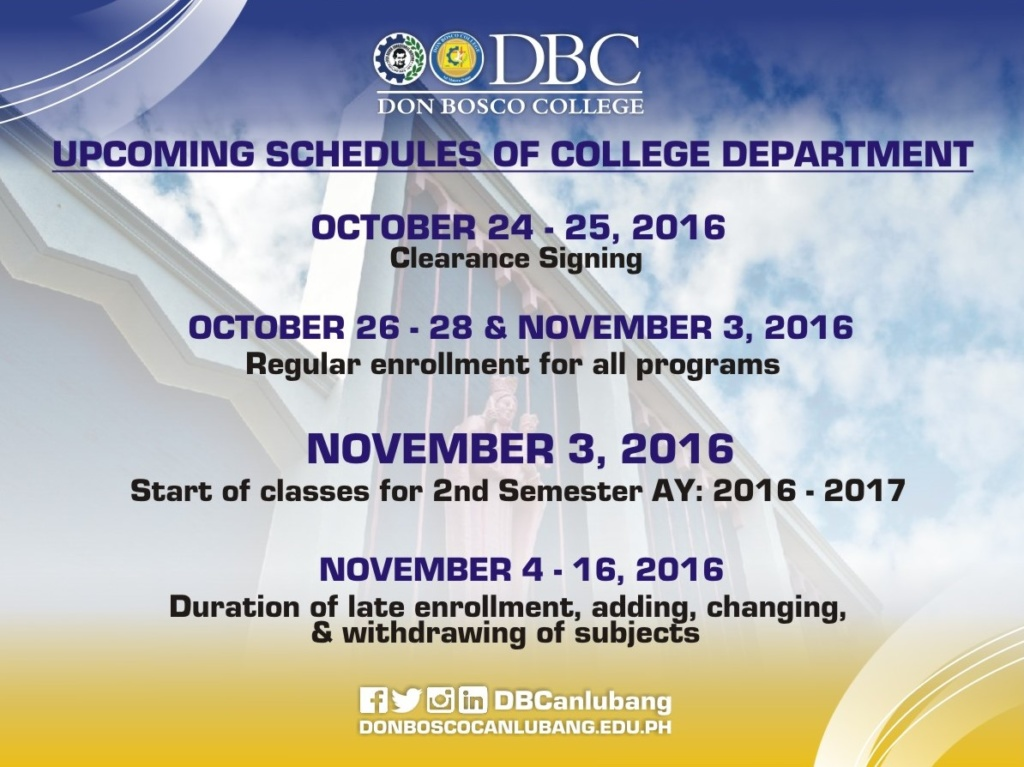 Upcoming Schedules of College Department