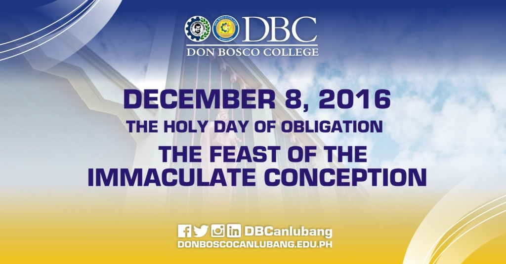 December 8, 2016 – Feast of the Immaculate Conception