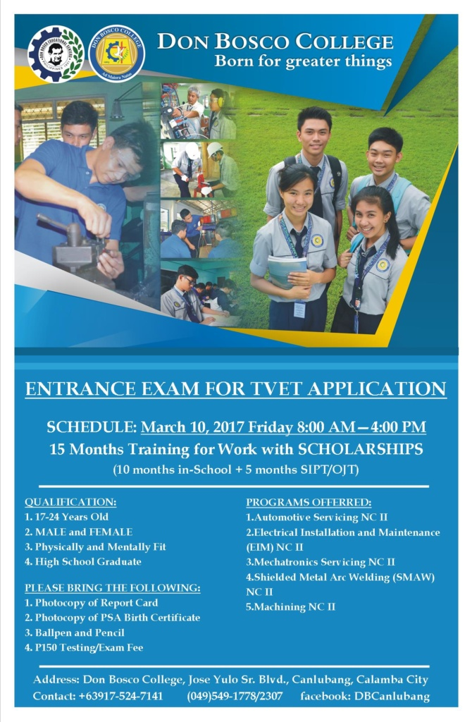 DBC ANNOUNCEMENT: Entrance Examination for TVET Application is on March 10, 2017