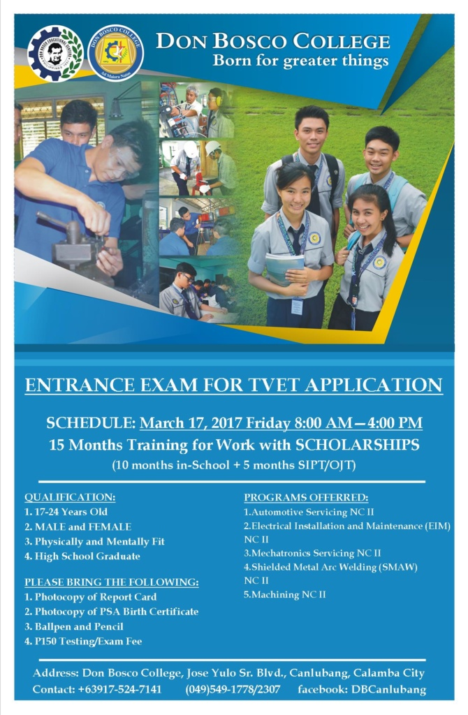 March 17, 2017 – Entrance Examination for TVET