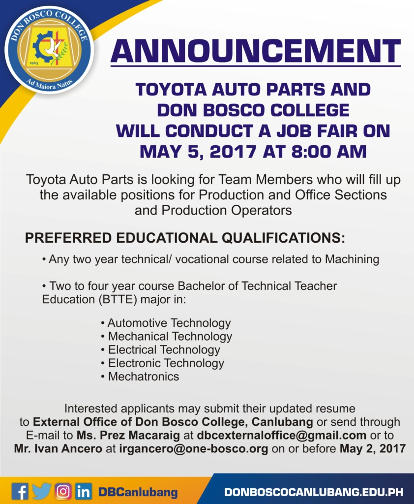 Toyota Auto Parts and Don Bosco College will conduct a job fair