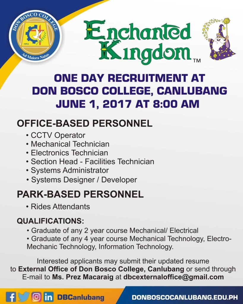 Hiring at Enchanted Kingdom