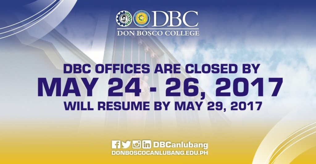 NOTICE TO PUBLIC: DBC offices are closed by May 24 – 26, 2017