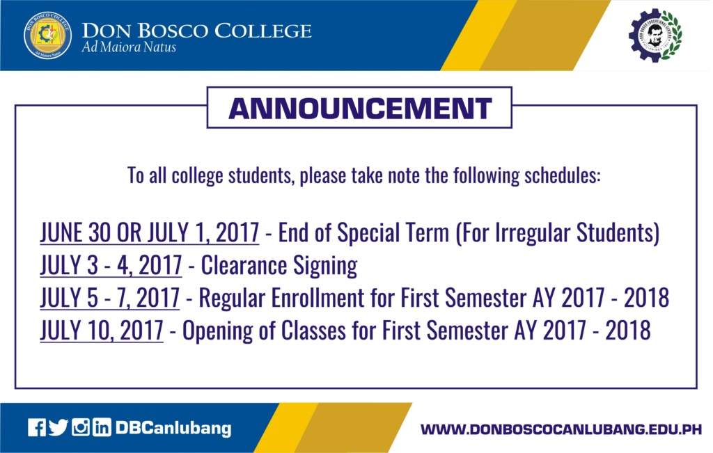 Attention college students, upcoming schedules!