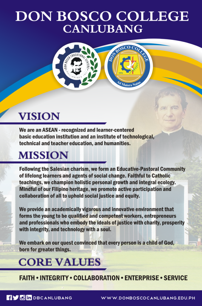The new Vision, Mission, and Core Values of Don Bosco College Canlubang